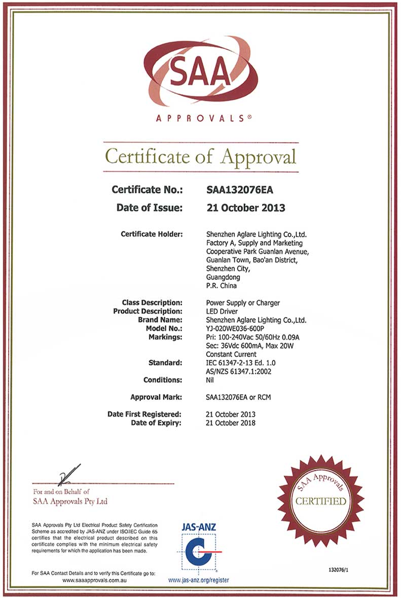 LED driver Certificate